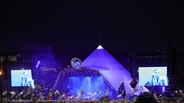 The Killers plays the Pyramid Stage on the fourth day of the Glastonbury Festival at Worthy Farm in Somerset.