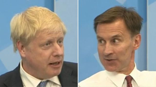 Boris Johnson and Jeremy Hunt at the Conservatives digital hustings. Pics: Facebook