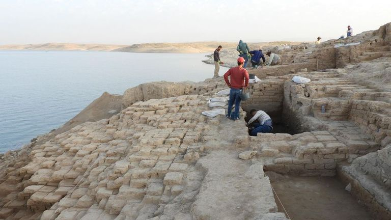 The terrace wall lies on a slope above the receded waters of the Mosul Dam reservoir. Pic: IANES