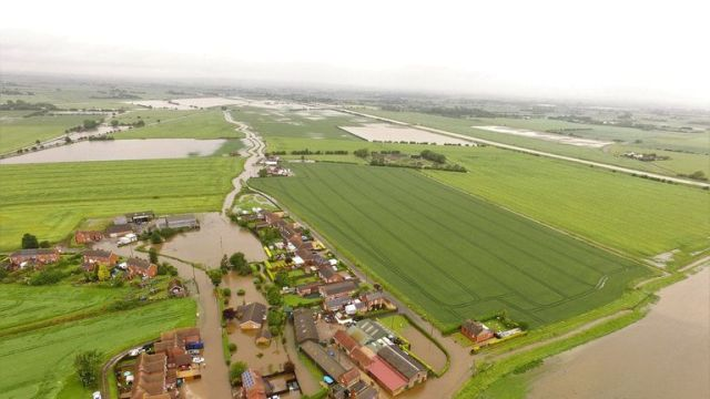 Flooding in Wainfleet All Saints, in Lincolnshire. Pic: Chris Dower/PA