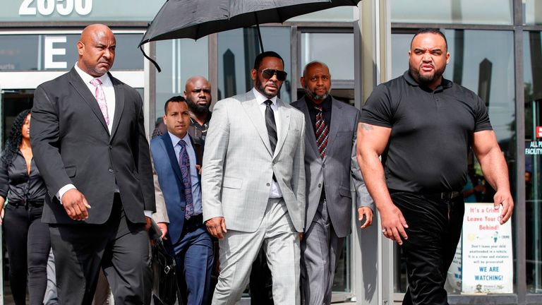 Singer R. Kelly leaves the Leighton Criminal Courthouse on June 06, 2019 in Chicago, Illinois. The singer appeared in front of a judge to face new charges of criminal sexual abuse. (Photo by Nuccio DiNuzzo/Getty Images)