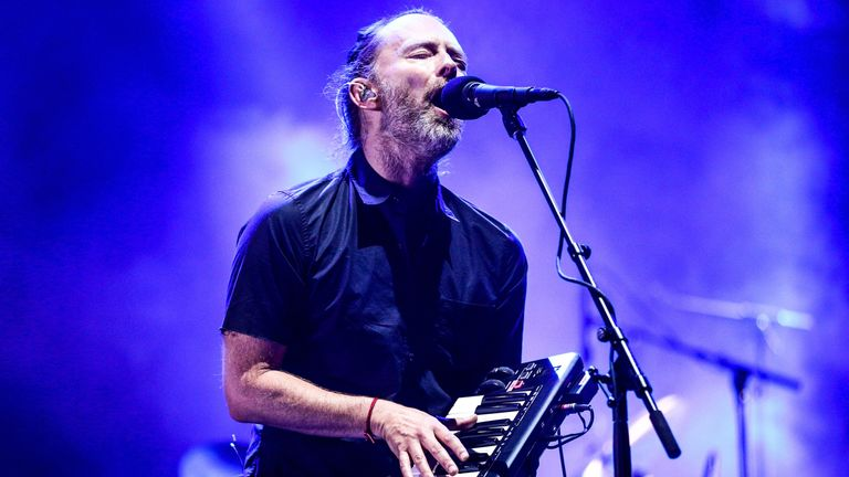 Thom Yorke of Radiohead performs on the Coachella Stage during day 1 of the 2017 Coachella Valley Music & Arts Festival (Weekend 2) at the Empire Polo Club on April 21, 2017 in Indio, California. (Photo by Rich Fury/Getty Images for Coachella)
