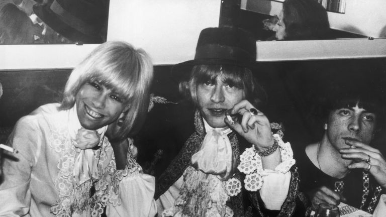 European actress Anita Pallenberg and Brian Jones at a party in Cannes during the film festival in 1967