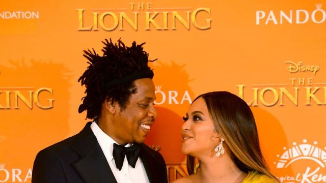 Jay-z and Beyonce attending Disney's The Lion King