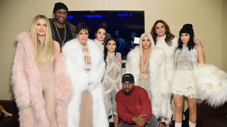 (L-R) Khloe Kardashian, Lamar Odom, Kris Jenner, Kendall Jenner, Kourtney Kardashian, Kanye West, Kim Kardashian, Caitlin Jenner and Kylie Jenner attend Kanye West Yeezy Season 3 on February 11, 2016 in New York