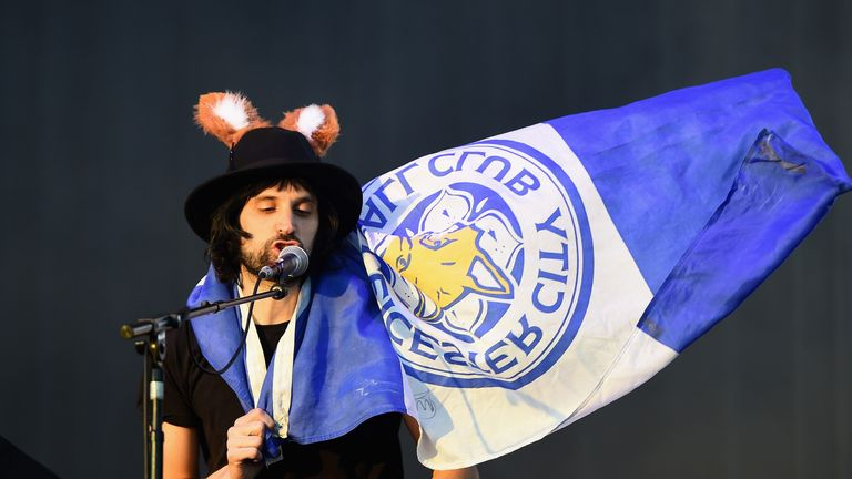 Kasabian's Serge Pizzorno pictred during the Leicester City Barclays Premier League winners' bus parade on May 16, 2016 in Leicester, England.