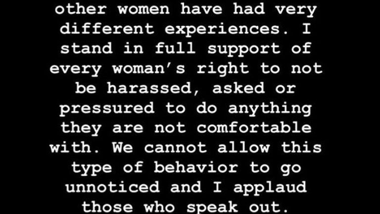Kim Kardashian West has posted this message in response to allegations made by model Sunnaya Nash about photographer Marcus Hyde. Pic: Instagram/@kimkardashian