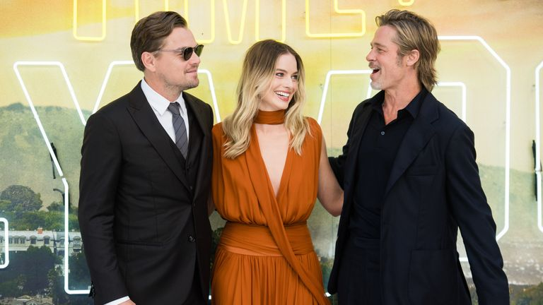 """Leonardo DiCaprio, Margot Robbie and Brad Pitt attend the """"Once Upon a Time... in Hollywood"""" UK Premiere at Odeon Luxe Leicester Square on July 30, 2019 in London"""