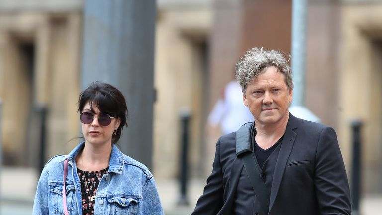Mark Jordon arrives at court with his girlfriend and Emmerdale co-star Laura Norton