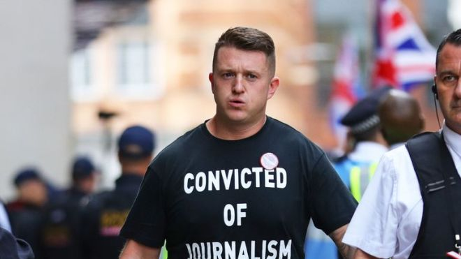 Tommy Robinson arrives for his sentencing at the Old Bailey in London