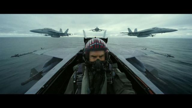 Tom Cruise is seen in the cockpit of a fighter jet in the first trailer