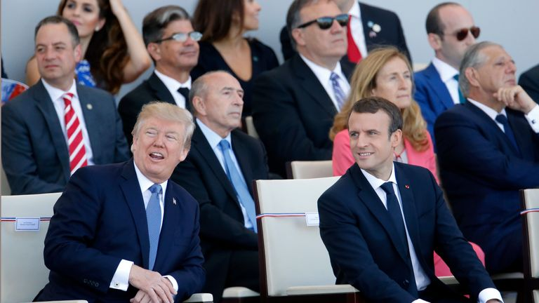 U.S President Donald Trump and French President Emmanuel Macron attend the traditional Bastille day military parade on the Champs-Elysees on July 14, 2017 in Paris France. Bastille Day, the French National day commemorates this year the 100th anniversary of the entry of the United States of America into World War I