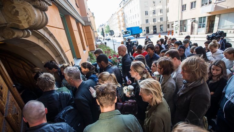 People entering the courthouse during the second day of the A$AP Rocky assault trial at the Stockholm city courthouse on August 1, 2019 in Stockholm, Sweden. American rapper A$AP Rocky, real name Rakim Mayers, along with Dave Rispers and Bladimir Corniel are on trial for assault after an alleged confrontation with a man in Stockholm in June
