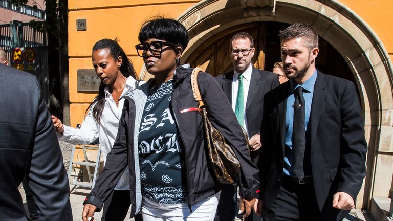 Renee Black, mother to A$AP Rocky, leaving the courthouse during the lunch break on the second day of the A$AP Rocky assault trial at the Stockholm city courthouse on August 1, 2019 in Stockholm, Sweden