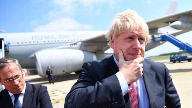Boris Johnson arrives in Biarritz, France