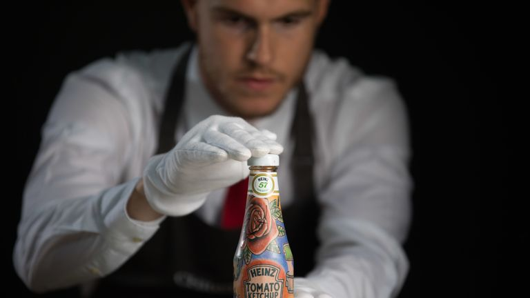 Ed Sheeran's Ed Sheeran x Heinz Tomato Ketchup, Tattoo Edition, is being auctioned at Christie's. Pic: David Parry