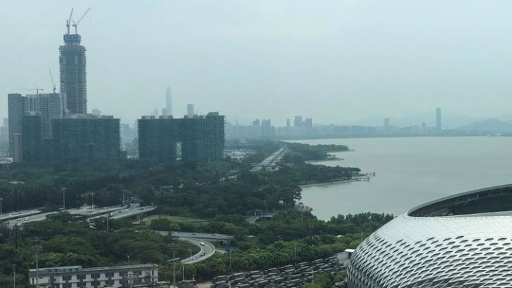 A look across Shenzhen's Deep Bay towards Hong Kong on the far right
