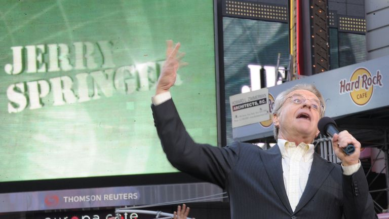 """TV Host Jerry Springer celebrates the taping of """"The Jerry Springer Show"""" 20th anniversary show at Military Island, Times Square on October 11, 2010 in New York City"""