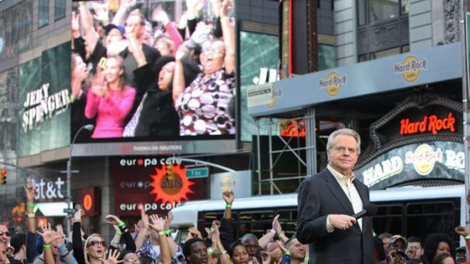 "TV personality Jerry Springer attends the taping of ""The Jerry Springer Show"" 20th anniversary show at Military Island, Times Square on October 11, 2010 in New York City"