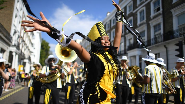 Notting Hill carnival on August 25, 2019 in London, England. One million people are expected on the streets in scorching temperatures for the Notting Hill Carnival