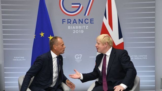 Biarritz, France. Boris Johnson attends the G7- Day Two. Britain's Prime Minister Boris Johnson meets with President of the European Council Donald Tusk at the G7 Summit in Biarritz, France