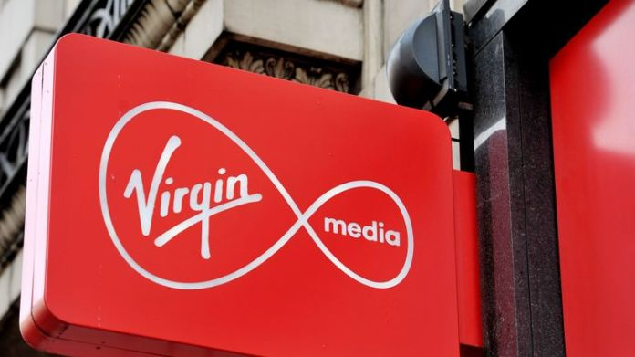 A sign for Virgin media in central London.
