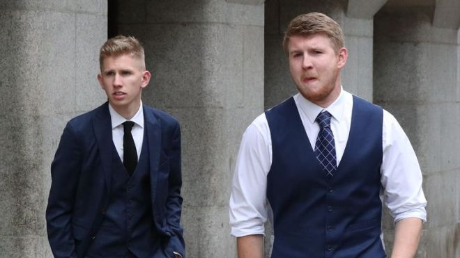 Sam (left) and Josh, the sons of former Bond actor Eric Michels, outside the Old Bailey in London after Gerald Matovu was jailed for life at the Old Bailey with a minimum term of 31 years for the murder of their father in August 2018.