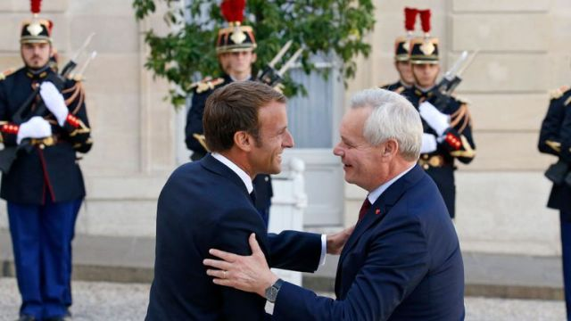 Emmanuel Macron and Antti Rinne had a meeting at the Elysee Palace in Paris on Wednesday