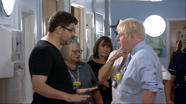 """The prime minister's visit to a hospital was interrupted by a parent angry over """"years and years and years of the NHS being destroyed"""""""