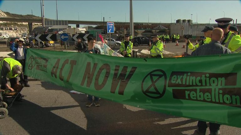 Extinction Rebellion's protest in the port of Dover
