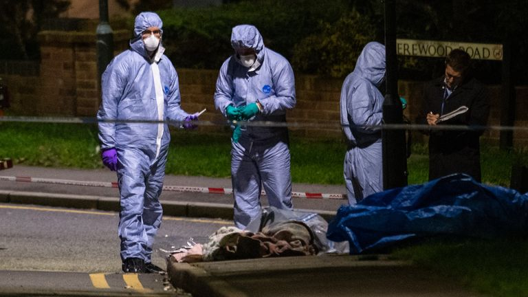 Police forensics officers at the scene of a fatal stabbing on Barnehurst Avenue, in Bexley, south east London. The 20-year-old man who died after he was stabbed in the chest was Londons sole knife crime fatality over the weekend.