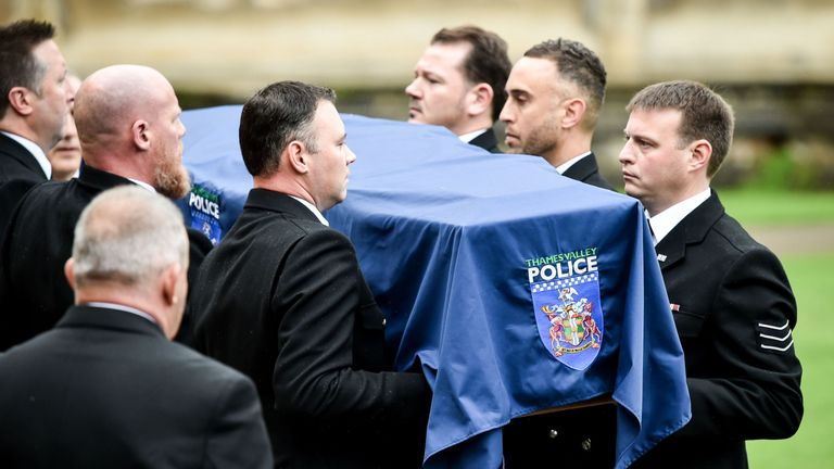 PC Harper's coffin was carried by his colleagues