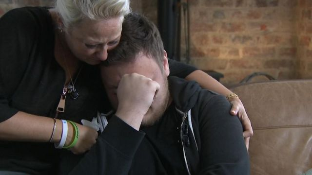 Niall's mother Charlotte comforts him as he becomes emotional