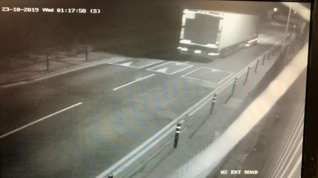 CCTV shows truck moments before it stops