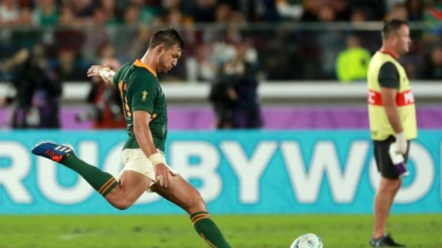 Handre Pollard kicks the wining penalty to send South Africa into the Rugby World Cup final