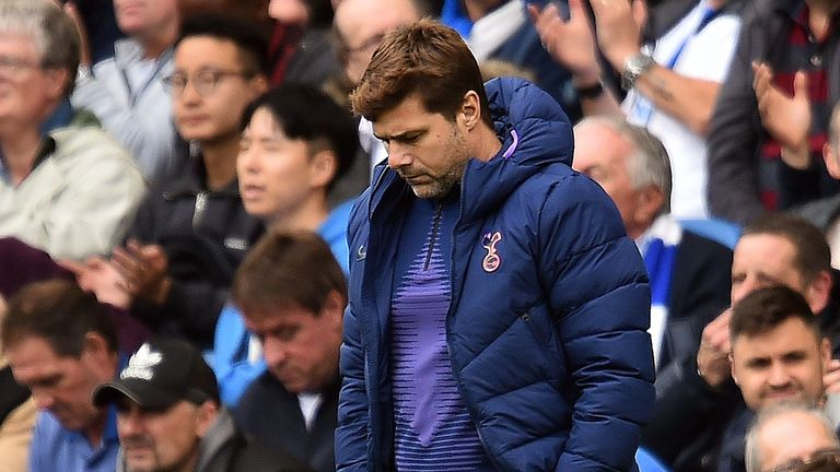 Tottenham Hotspur's Argentinian head coach Mauricio Pochettino reacts during the English Premier League football match between Brighton and Tottenham Hotspur at the American Express Community Stadium in Brighton, southern England on October 5, 2019. (Photo by Glyn KIRK / AFP) / RESTRICTED TO EDITORIAL USE. No use with unauthorized audio, video, data, fixture lists, club/league logos or 'live' services. Online in-match use limited to 120 images. An additional 40 images may be used in extra time. No video emulation. Social media in-match use limited to 120 images. An additional 40 images may be used in extra time. No use in betting publications, games or single club/league/player publications. /  (Photo by GLYN KIRK/AFP via Getty Images)