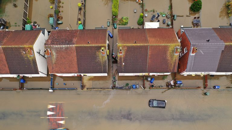 An aerial view of the flooding in Doncaster