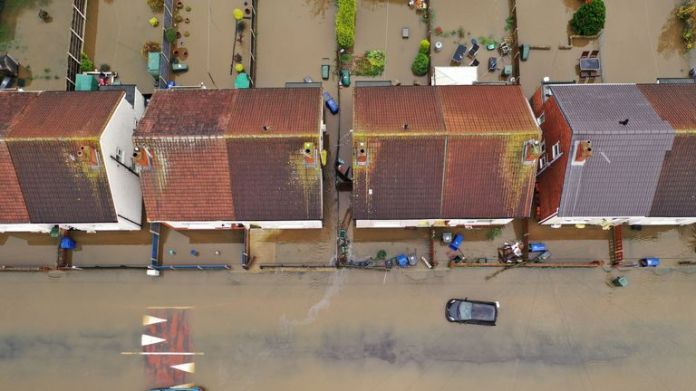 An aerial view of the flood in Doncaster