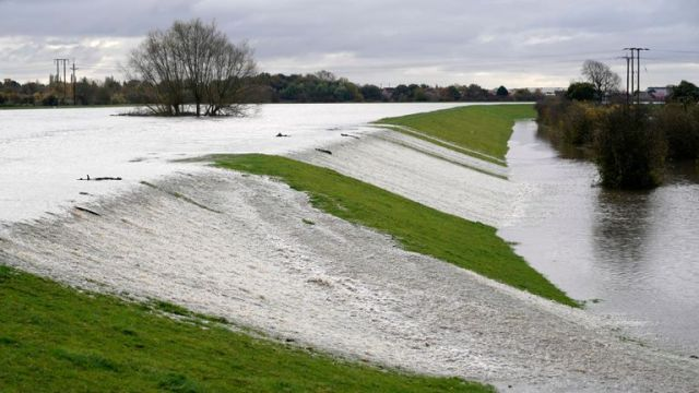 The River Don bursts its banks in Barnby Dun, near Doncaster