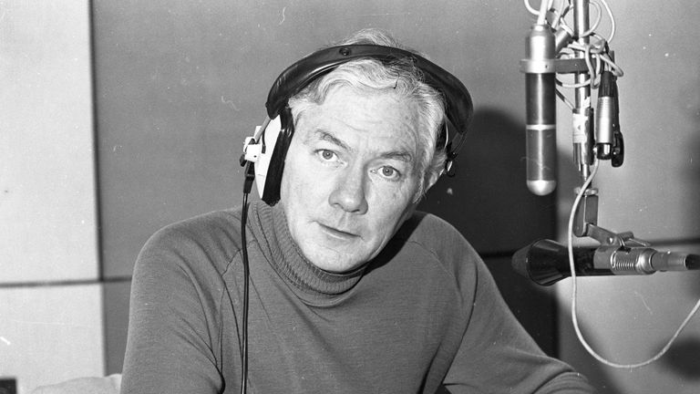 Gay Byrne in the studio on the 15th anniversary of his radio show in 1988