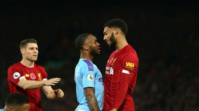 Sterling clashed with Gomez during Liverpool's win over Manchester City on Sunday