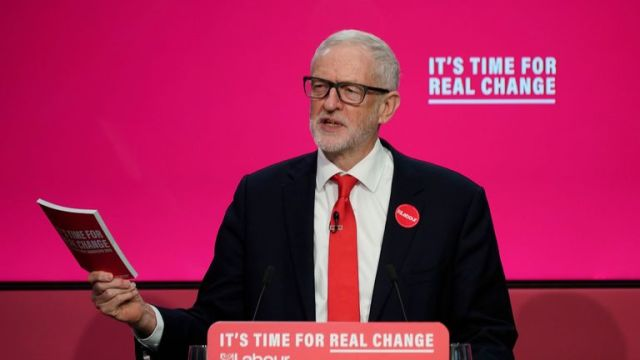 Jeremy Corbyn during the launch of the party's election manifesto at Birmingham City University
