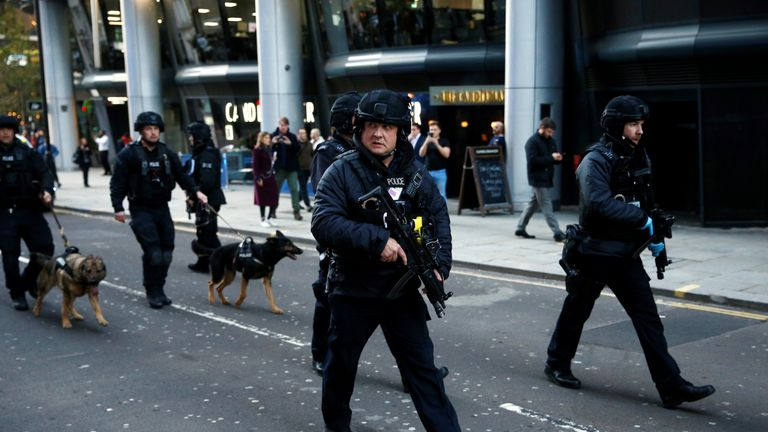 Police officers with sniffer dogs near London Bridge