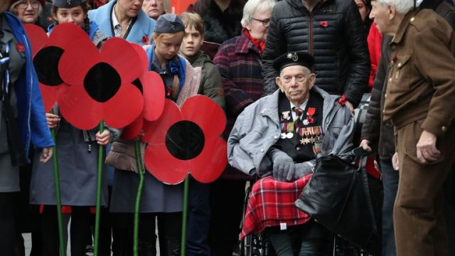 Veterans during the Remembrance Sunday events