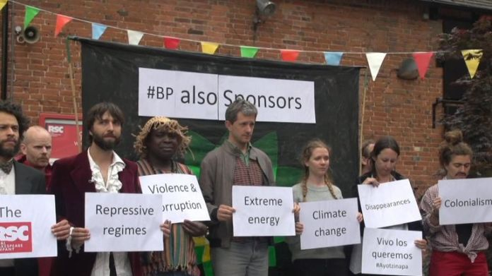 Protesters demonstrate against the sponsorship of the RSC by BP