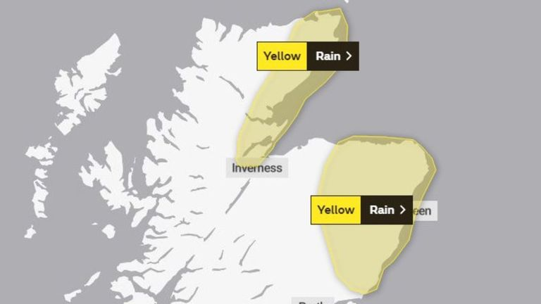 Persistent and occasionally heavy rain is also forecast for northeastern Scotland, Pic: Met Office