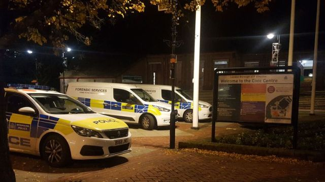 The scene at the Hillingdon Civic Centre in the High Street in Uxbridge