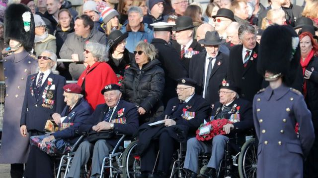 Veterans attend the annual Remembrance Sunday memorial at The Cenotaph