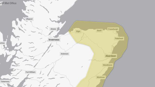 A yellow warning for ice is also in place for eastern Scotland