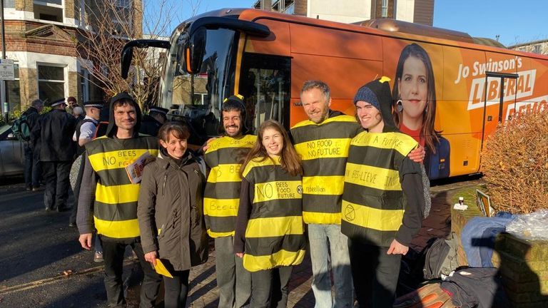 Extinction Rebellion protesters outside the Lib Dem election bus Pic: Extinction Rebellion